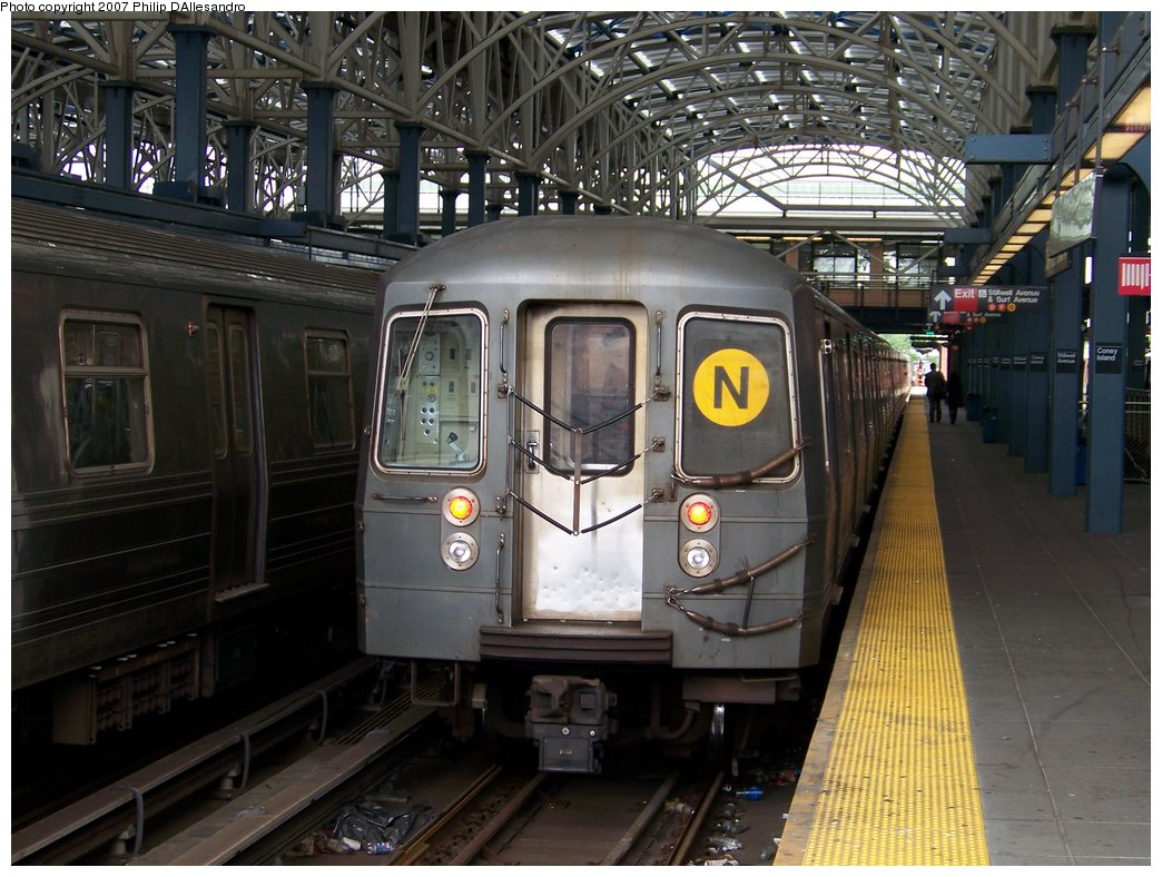 (196k, 1044x788)<br><b>Country:</b> United States<br><b>City:</b> New York<br><b>System:</b> New York City Transit<br><b>Location:</b> Coney Island/Stillwell Avenue<br><b>Route:</b> N<br><b>Car:</b> R-68/R-68A Series (Number Unknown)  <br><b>Photo by:</b> Philip D'Allesandro<br><b>Date:</b> 6/14/2007<br><b>Viewed (this week/total):</b> 1 / 1789