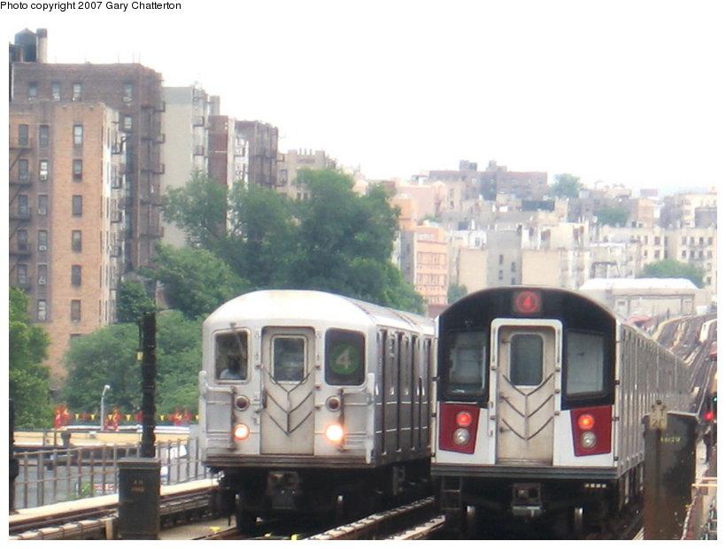 (93k, 820x620)<br><b>Country:</b> United States<br><b>City:</b> New York<br><b>System:</b> New York City Transit<br><b>Line:</b> IRT Woodlawn Line<br><b>Location:</b> 170th Street <br><b>Route:</b> 4<br><b>Car:</b> R-142A (Option Order, Kawasaki, 2002-2003)  7685 <br><b>Photo by:</b> Gary Chatterton<br><b>Date:</b> 6/10/2007<br><b>Notes:</b> With R62 1545.<br><b>Viewed (this week/total):</b> 6 / 3694