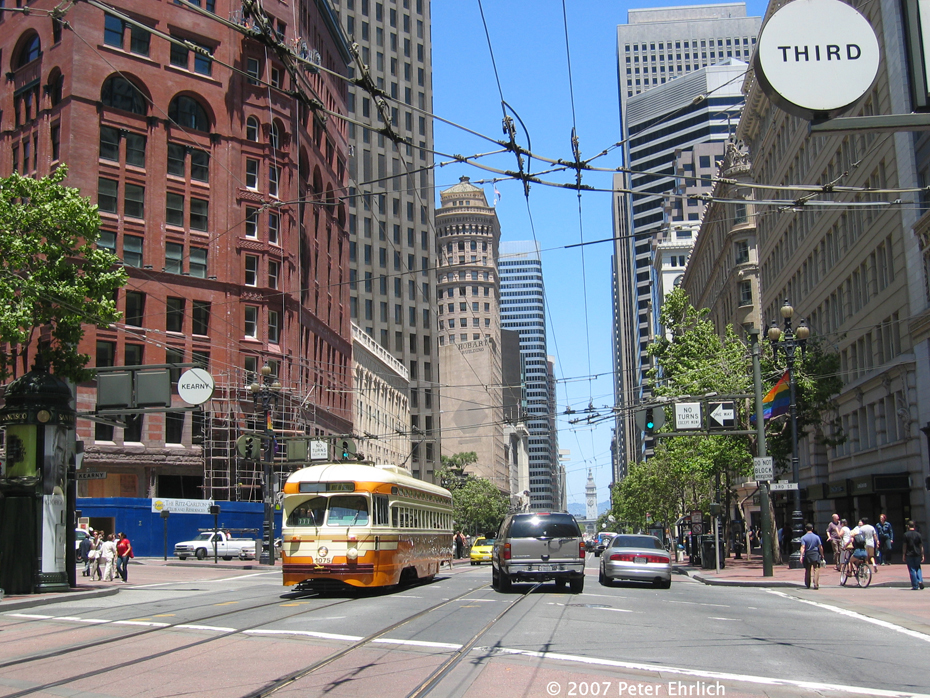 (745k, 930x698)<br><b>Country:</b> United States<br><b>City:</b> San Francisco/Bay Area, CA<br><b>System:</b> SF MUNI<br><b>Location:</b> Market/3rd/Geary/Kearny<br><b>Car:</b> SF MUNI PCC (Ex-NJTransit, Ex-Twin City) (St. Louis Car Co., 1946-1947) 1075 <br><b>Photo by:</b> Peter Ehrlich<br><b>Date:</b> 6/14/2007<br><b>Notes:</b> Market/3rd Street outbond.  The restored Chronicle Building is in the background.<br><b>Viewed (this week/total):</b> 0 / 768