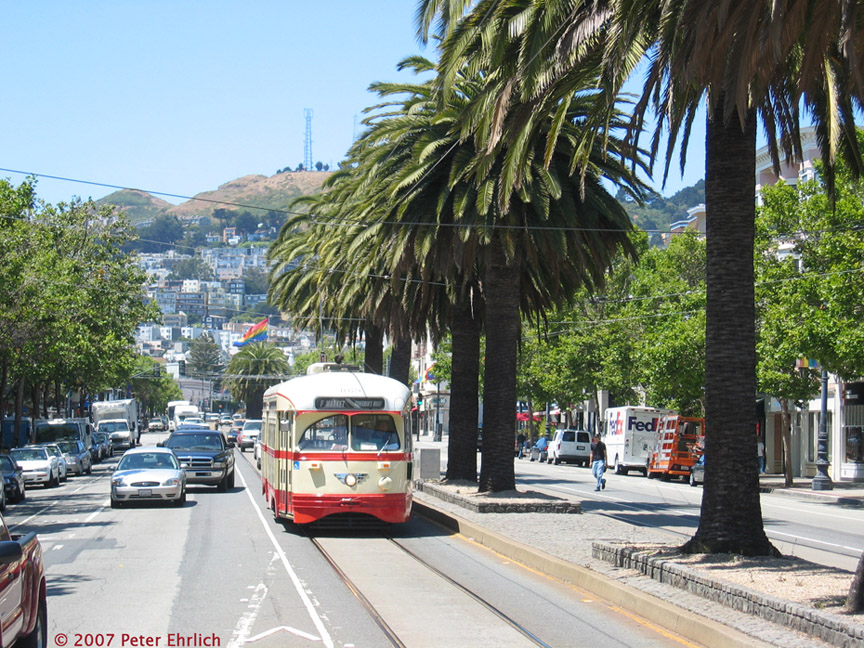 (284k, 864x648)<br><b>Country:</b> United States<br><b>City:</b> San Francisco/Bay Area, CA<br><b>System:</b> SF MUNI<br><b>Location:</b> Market/15th/Sanchez <br><b>Car:</b> SF MUNI PCC (Ex-NJTransit, Ex-Twin City) (St. Louis Car Co., 1946-1947)  1079 <br><b>Photo by:</b> Peter Ehrlich<br><b>Date:</b> 6/14/2007<br><b>Notes:</b> Approaching Market/Sanchez/15th Street inbound.<br><b>Viewed (this week/total):</b> 0 / 528