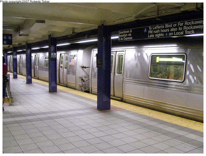 (157k, 820x620)<br><b>Country:</b> United States<br><b>City:</b> New York<br><b>System:</b> New York City Transit<br><b>Line:</b> IND 8th Avenue Line<br><b>Location:</b> 42nd Street/Port Authority Bus Terminal <br><b>Route:</b> A<br><b>Car:</b> R-44 (St. Louis, 1971-73) 5327 <br><b>Photo by:</b> Roberto C. Tobar<br><b>Date:</b> 6/18/2007<br><b>Viewed (this week/total):</b> 0 / 4528