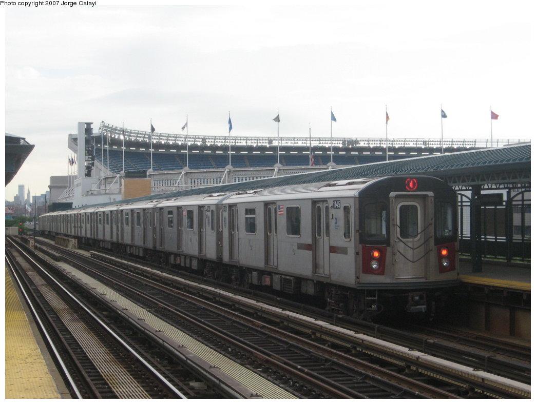 (144k, 1044x788)<br><b>Country:</b> United States<br><b>City:</b> New York<br><b>System:</b> New York City Transit<br><b>Line:</b> IRT Woodlawn Line<br><b>Location:</b> 161st Street/River Avenue (Yankee Stadium) <br><b>Route:</b> 4<br><b>Car:</b> R-142 (Option Order, Bombardier, 2002-2003)  1145 <br><b>Photo by:</b> Jorge Catayi<br><b>Date:</b> 6/10/2007<br><b>Viewed (this week/total):</b> 0 / 2172