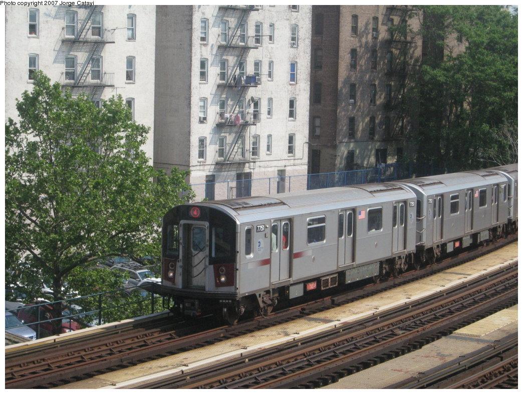 (231k, 1044x788)<br><b>Country:</b> United States<br><b>City:</b> New York<br><b>System:</b> New York City Transit<br><b>Line:</b> IRT Woodlawn Line<br><b>Location:</b> 161st Street/River Avenue (Yankee Stadium) <br><b>Route:</b> 4<br><b>Car:</b> R-142A (Supplemental Order, Kawasaki, 2003-2004)  7751 <br><b>Photo by:</b> Jorge Catayi<br><b>Date:</b> 5/27/2007<br><b>Viewed (this week/total):</b> 1 / 2500