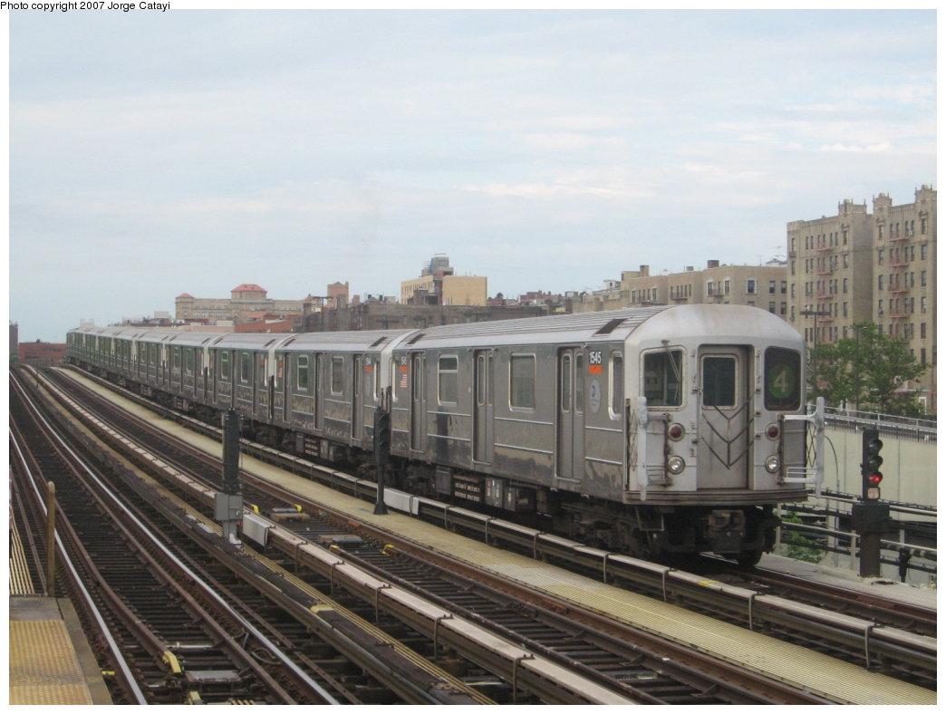 (150k, 1044x788)<br><b>Country:</b> United States<br><b>City:</b> New York<br><b>System:</b> New York City Transit<br><b>Line:</b> IRT Woodlawn Line<br><b>Location:</b> 161st Street/River Avenue (Yankee Stadium) <br><b>Route:</b> 4<br><b>Car:</b> R-62 (Kawasaki, 1983-1985)  1545 <br><b>Photo by:</b> Jorge Catayi<br><b>Date:</b> 6/10/2007<br><b>Viewed (this week/total):</b> 0 / 1767