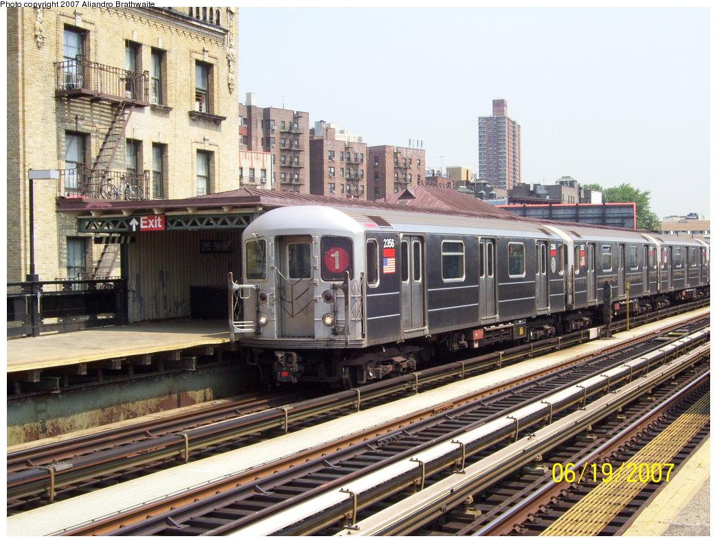 (238k, 1044x791)<br><b>Country:</b> United States<br><b>City:</b> New York<br><b>System:</b> New York City Transit<br><b>Line:</b> IRT West Side Line<br><b>Location:</b> 215th Street <br><b>Route:</b> 1<br><b>Car:</b> R-62A (Bombardier, 1984-1987)  2356 <br><b>Photo by:</b> Aliandro Brathwaite<br><b>Date:</b> 6/19/2007<br><b>Viewed (this week/total):</b> 0 / 2368