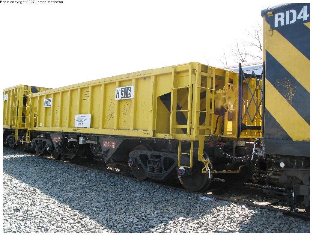 (195k, 1044x788)<br><b>Country:</b> United States<br><b>City:</b> New York<br><b>System:</b> New York City Transit<br><b>Location:</b> Coney Island Yard<br><b>Car:</b> R-116 MoW Hopper  316 <br><b>Photo by:</b> James Matthews<br><b>Date:</b> 4/24/2007<br><b>Notes:</b> Stillwell Yard<br><b>Viewed (this week/total):</b> 0 / 1187