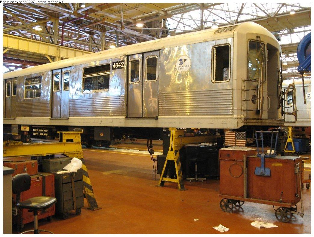 (199k, 1044x788)<br><b>Country:</b> United States<br><b>City:</b> New York<br><b>System:</b> New York City Transit<br><b>Location:</b> Coney Island Shop/Overhaul & Repair Shop<br><b>Car:</b> R-42 (St. Louis, 1969-1970)  4642 <br><b>Photo by:</b> James Matthews<br><b>Date:</b> 4/24/2007<br><b>Viewed (this week/total):</b> 0 / 1598