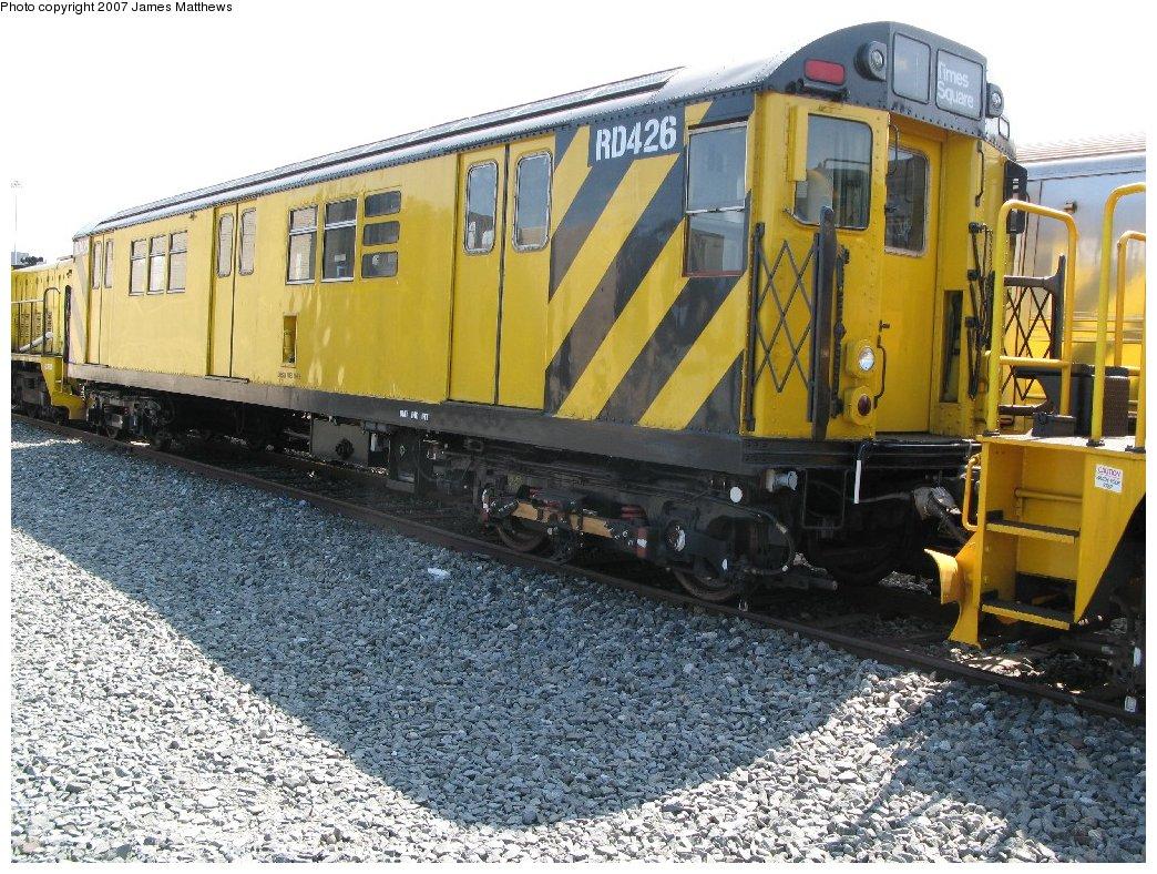 (243k, 1044x788)<br><b>Country:</b> United States<br><b>City:</b> New York<br><b>System:</b> New York City Transit<br><b>Location:</b> Coney Island Yard<br><b>Car:</b> R-161 Rider Car (ex-R-33)  RD426 (ex-9071)<br><b>Photo by:</b> James Matthews<br><b>Date:</b> 4/24/2007<br><b>Notes:</b> Stillwell Yard<br><b>Viewed (this week/total):</b> 2 / 1411