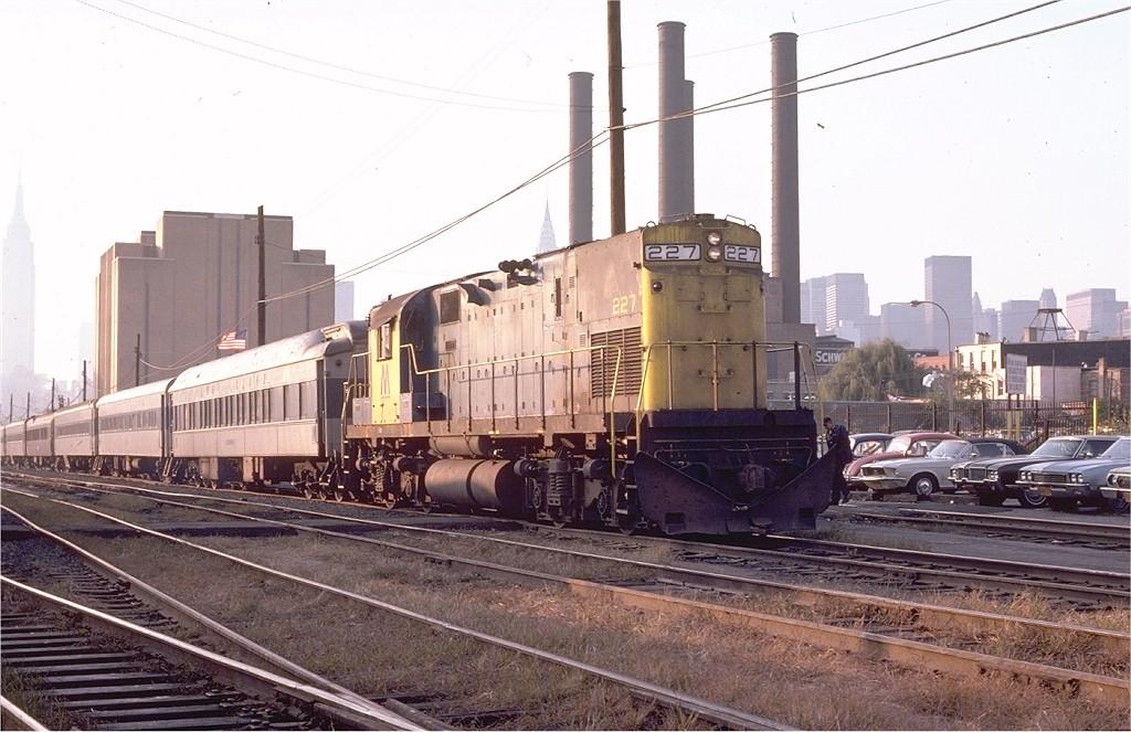 (198k, 1024x663)<br><b>Country:</b> United States<br><b>City:</b> New York<br><b>System:</b> Long Island Rail Road<br><b>Line:</b> LIRR Long Island City<br><b>Location:</b> Long Island City <br><b>Car:</b> LIRR Alco C-420 (Diesel) 227 <br><b>Photo by:</b> Ed McKernan<br><b>Collection of:</b> Joe Testagrose<br><b>Date:</b> 10/23/1974<br><b>Viewed (this week/total):</b> 0 / 1675