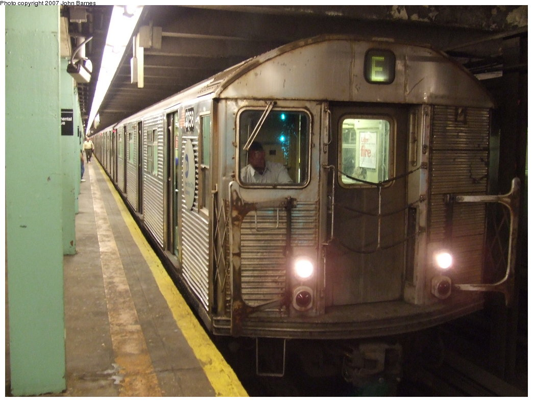(158k, 1044x788)<br><b>Country:</b> United States<br><b>City:</b> New York<br><b>System:</b> New York City Transit<br><b>Line:</b> IND Queens Boulevard Line<br><b>Location:</b> 71st/Continental Aves./Forest Hills <br><b>Route:</b> E<br><b>Car:</b> R-32 (Budd, 1964)  3758 <br><b>Photo by:</b> John Barnes<br><b>Date:</b> 6/14/2007<br><b>Viewed (this week/total):</b> 0 / 2672