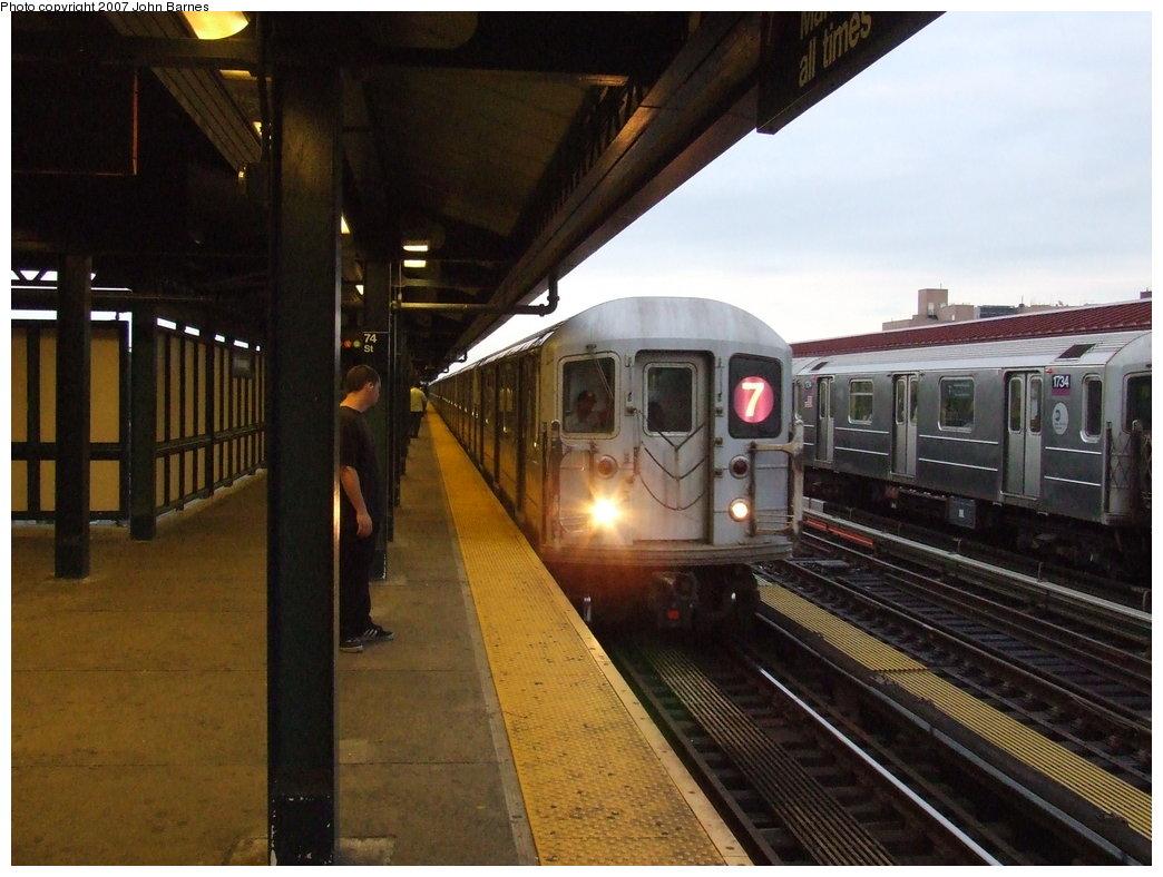 (167k, 1044x788)<br><b>Country:</b> United States<br><b>City:</b> New York<br><b>System:</b> New York City Transit<br><b>Line:</b> IRT Flushing Line<br><b>Location:</b> 74th Street/Broadway <br><b>Route:</b> 7<br><b>Car:</b> R-62A (Bombardier, 1984-1987)  1680 <br><b>Photo by:</b> John Barnes<br><b>Date:</b> 6/14/2007<br><b>Viewed (this week/total):</b> 2 / 1810