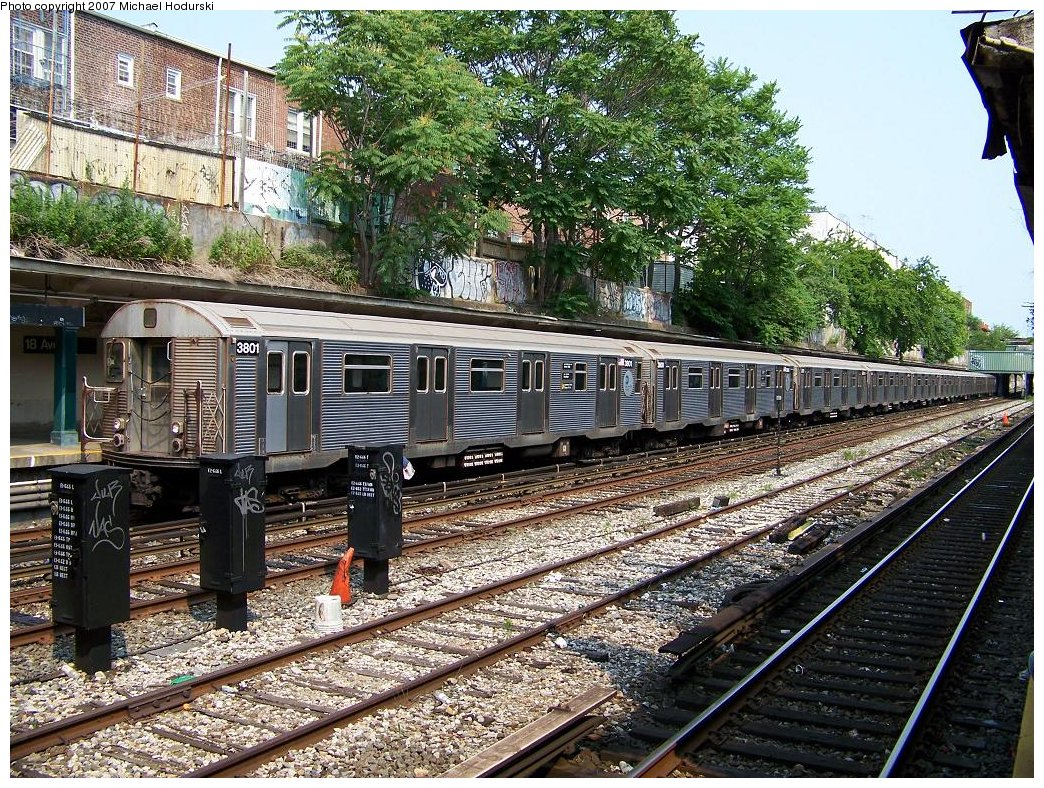 (346k, 1044x788)<br><b>Country:</b> United States<br><b>City:</b> New York<br><b>System:</b> New York City Transit<br><b>Line:</b> BMT Sea Beach Line<br><b>Location:</b> 18th Avenue <br><b>Route:</b> N<br><b>Car:</b> R-32 (Budd, 1964)  3801 <br><b>Photo by:</b> Michael Hodurski<br><b>Date:</b> 6/19/2007<br><b>Viewed (this week/total):</b> 2 / 2424