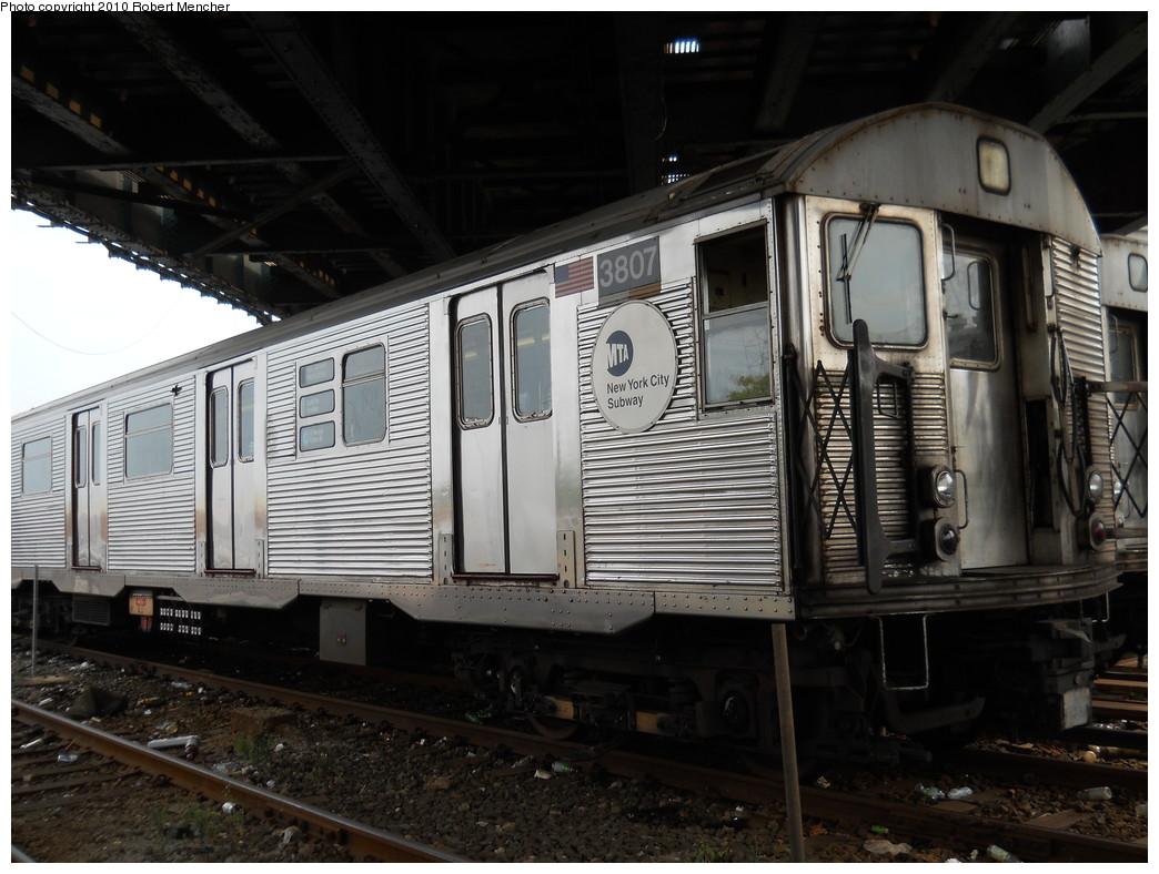 (264k, 1044x788)<br><b>Country:</b> United States<br><b>City:</b> New York<br><b>System:</b> New York City Transit<br><b>Location:</b> East New York Yard/Shops<br><b>Car:</b> R-32 (Budd, 1964)  3807 <br><b>Photo by:</b> Robert Mencher<br><b>Date:</b> 8/9/2010<br><b>Viewed (this week/total):</b> 0 / 870