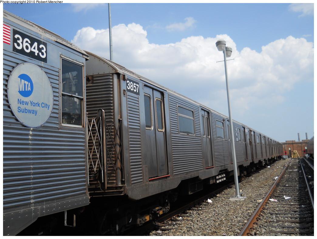 (284k, 1044x788)<br><b>Country:</b> United States<br><b>City:</b> New York<br><b>System:</b> New York City Transit<br><b>Location:</b> East New York Yard/Shops<br><b>Car:</b> R-32 (Budd, 1964)  3857 <br><b>Photo by:</b> Robert Mencher<br><b>Date:</b> 8/11/2010<br><b>Viewed (this week/total):</b> 0 / 538