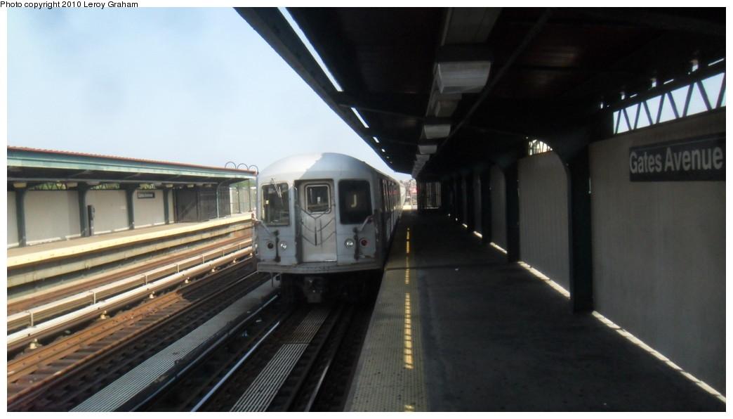 (143k, 1044x596)<br><b>Country:</b> United States<br><b>City:</b> New York<br><b>System:</b> New York City Transit<br><b>Line:</b> BMT Nassau Street/Jamaica Line<br><b>Location:</b> Gates Avenue <br><b>Route:</b> J<br><b>Car:</b> R-42 (St. Louis, 1969-1970)   <br><b>Photo by:</b> Leroy Graham<br><b>Date:</b> 8/11/2010<br><b>Viewed (this week/total):</b> 0 / 1223