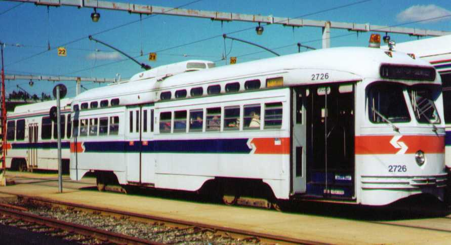 (44k, 891x484)<br><b>Country:</b> United States<br><b>City:</b> Philadelphia, PA<br><b>System:</b> SEPTA (or Predecessor)<br><b>Location:</b> Elmwood Depot <br><b>Car:</b> PTC/SEPTA Postwar All-electric PCC (St.Louis, 1947)  2726 <br><b>Photo by:</b> Bob Wright<br><b>Date:</b> 10/1994<br><b>Viewed (this week/total):</b> 0 / 686