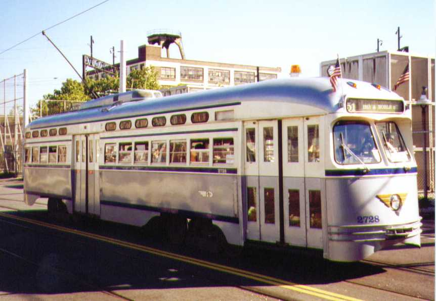 (48k, 862x596)<br><b>Country:</b> United States<br><b>City:</b> Philadelphia, PA<br><b>System:</b> SEPTA (or Predecessor)<br><b>Line:</b> Rt. 23-Germantown <br><b>Location:</b> 12th/Noble <br><b>Car:</b> PTC/SEPTA Postwar All-electric PCC (St.Louis, 1947)  2728 <br><b>Photo by:</b> Bob Wright<br><b>Date:</b> 10/1995<br><b>Viewed (this week/total):</b> 0 / 876