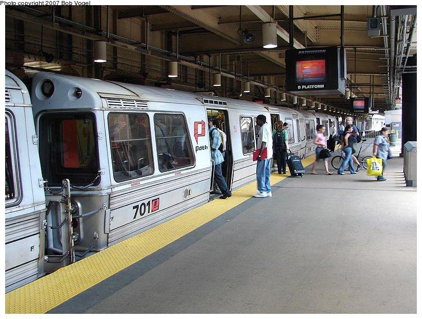 (130k, 820x620)<br><b>Country:</b> United States<br><b>City:</b> Newark, NJ<br><b>System:</b> PATH<br><b>Location:</b> Newark (Penn Station) <br><b>Car:</b> PATH PA-1 (St. Louis Car, 1965)  701 <br><b>Photo by:</b> Bob Vogel<br><b>Date:</b> 6/25/2007<br><b>Viewed (this week/total):</b> 1 / 2684