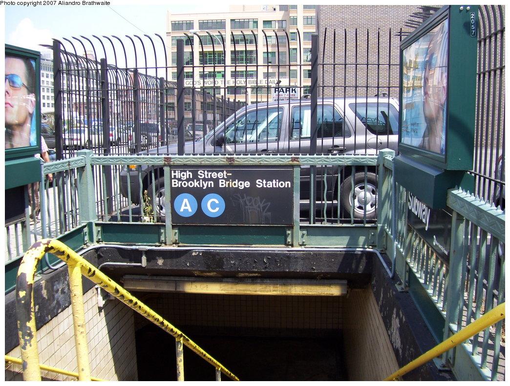 (271k, 1044x791)<br><b>Country:</b> United States<br><b>City:</b> New York<br><b>System:</b> New York City Transit<br><b>Line:</b> IND 8th Avenue Line<br><b>Location:</b> High Street/Brooklyn Bridge <br><b>Photo by:</b> Aliandro Brathwaite<br><b>Date:</b> 6/25/2007<br><b>Notes:</b> Station entrance.<br><b>Viewed (this week/total):</b> 0 / 3892