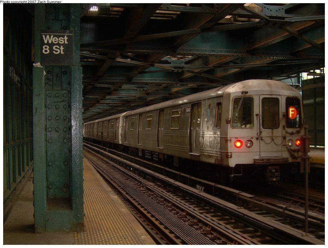 (214k, 1044x788)<br><b>Country:</b> United States<br><b>City:</b> New York<br><b>System:</b> New York City Transit<br><b>Line:</b> BMT Culver Line<br><b>Location:</b> West 8th Street <br><b>Route:</b> F<br><b>Car:</b> R-46 (Pullman-Standard, 1974-75) 6040 <br><b>Photo by:</b> Zach Summer<br><b>Date:</b> 6/9/2007<br><b>Viewed (this week/total):</b> 3 / 1527