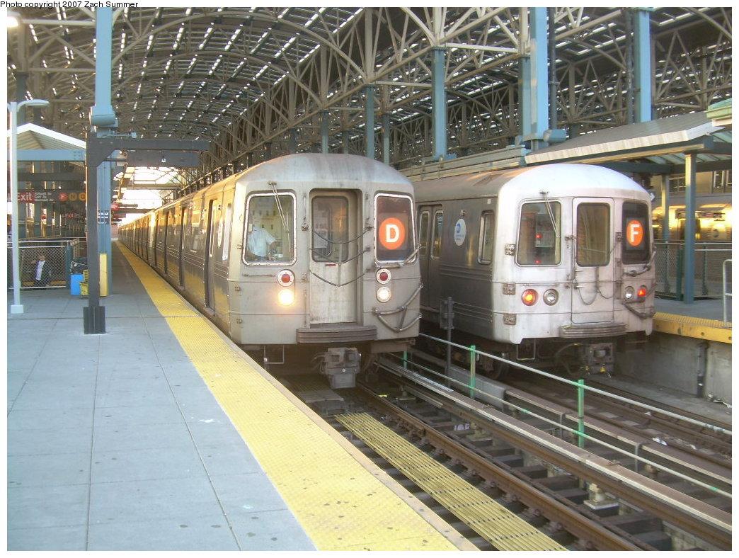 (246k, 1044x788)<br><b>Country:</b> United States<br><b>City:</b> New York<br><b>System:</b> New York City Transit<br><b>Location:</b> Coney Island/Stillwell Avenue<br><b>Route:</b> D<br><b>Car:</b> R-68 (Westinghouse-Amrail, 1986-1988)   <br><b>Photo by:</b> Zach Summer<br><b>Date:</b> 6/15/2007<br><b>Notes:</b> With R46 F train.<br><b>Viewed (this week/total):</b> 0 / 2377
