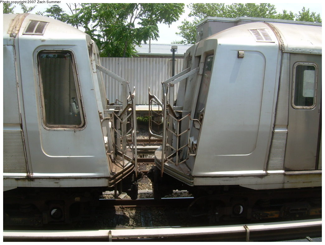(212k, 1044x788)<br><b>Country:</b> United States<br><b>City:</b> New York<br><b>System:</b> New York City Transit<br><b>Line:</b> BMT Brighton Line<br><b>Location:</b> Neck Road <br><b>Car:</b> R-40 (St. Louis, 1968)   <br><b>Photo by:</b> Zach Summer<br><b>Date:</b> 6/24/2007<br><b>Notes:</b> Weekend layup; beginning and end of 10 car trainsets, not coupled.<br><b>Viewed (this week/total):</b> 6 / 3051