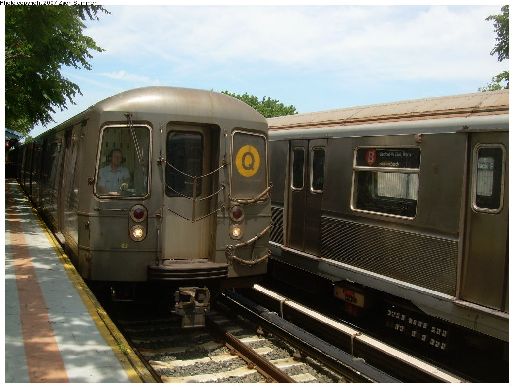 (202k, 1044x788)<br><b>Country:</b> United States<br><b>City:</b> New York<br><b>System:</b> New York City Transit<br><b>Line:</b> BMT Brighton Line<br><b>Location:</b> Neck Road <br><b>Route:</b> Q<br><b>Car:</b> R-68A (Kawasaki, 1988-1989)   <br><b>Photo by:</b> Zach Summer<br><b>Date:</b> 6/24/2007<br><b>Viewed (this week/total):</b> 0 / 1841