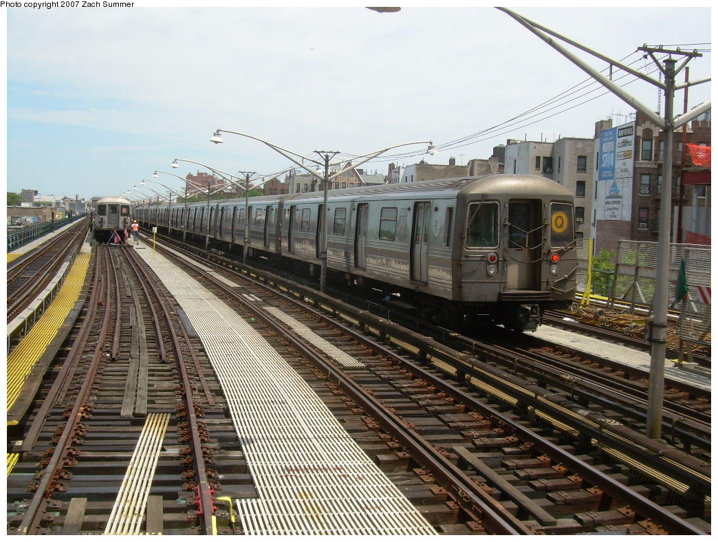 (269k, 1044x788)<br><b>Country:</b> United States<br><b>City:</b> New York<br><b>System:</b> New York City Transit<br><b>Line:</b> BMT Brighton Line<br><b>Location:</b> Ocean Parkway <br><b>Route:</b> Q<br><b>Car:</b> R-68 (Westinghouse-Amrail, 1986-1988)   <br><b>Photo by:</b> Zach Summer<br><b>Date:</b> 6/24/2007<br><b>Viewed (this week/total):</b> 1 / 1910
