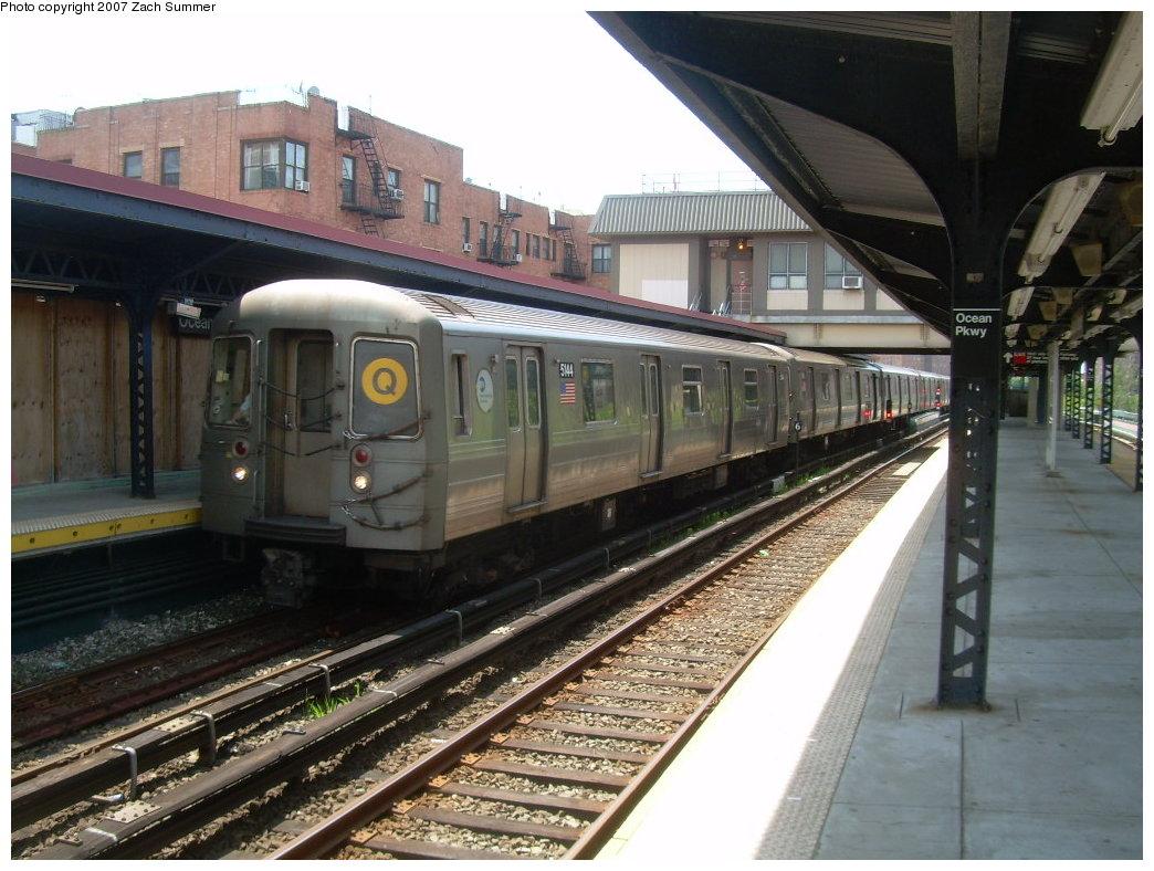 (215k, 1044x788)<br><b>Country:</b> United States<br><b>City:</b> New York<br><b>System:</b> New York City Transit<br><b>Line:</b> BMT Brighton Line<br><b>Location:</b> Ocean Parkway <br><b>Route:</b> Q<br><b>Car:</b> R-68A (Kawasaki, 1988-1989)  5144 <br><b>Photo by:</b> Zach Summer<br><b>Date:</b> 6/24/2007<br><b>Viewed (this week/total):</b> 1 / 1545