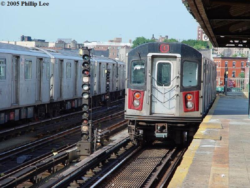 (93k, 799x600)<br><b>Country:</b> United States<br><b>City:</b> New York<br><b>System:</b> New York City Transit<br><b>Line:</b> IRT Woodlawn Line<br><b>Location:</b> Bedford Park Boulevard <br><b>Route:</b> 4<br><b>Car:</b> R-142 or R-142A (Number Unknown)  <br><b>Photo by:</b> Phillip Lee<br><b>Date:</b> 8/10/2005<br><b>Viewed (this week/total):</b> 0 / 2048
