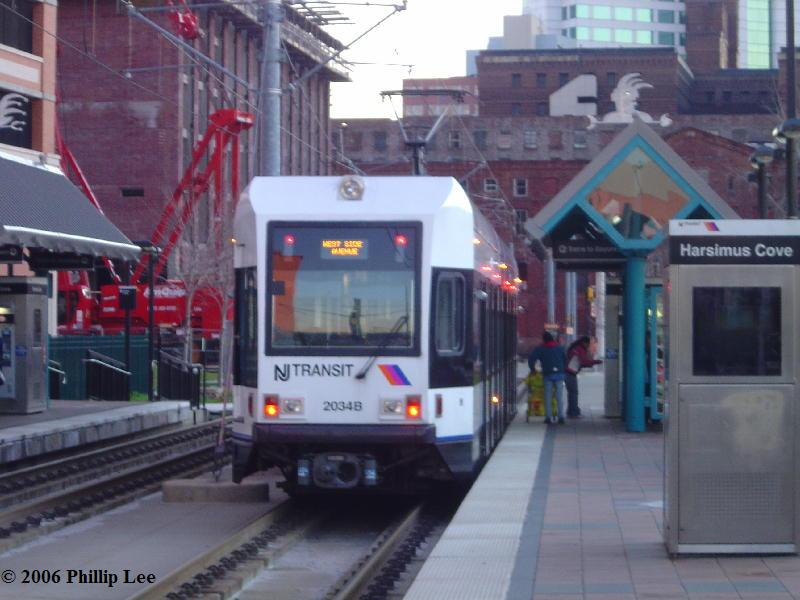(74k, 800x600)<br><b>Country:</b> United States<br><b>City:</b> Jersey City, NJ<br><b>System:</b> Hudson Bergen Light Rail<br><b>Location:</b> Harsimus Cove <br><b>Car:</b> NJT-HBLR LRV (Kinki-Sharyo, 1998-99)  2034 <br><b>Photo by:</b> Phillip Lee<br><b>Date:</b> 12/23/2006<br><b>Viewed (this week/total):</b> 0 / 1125