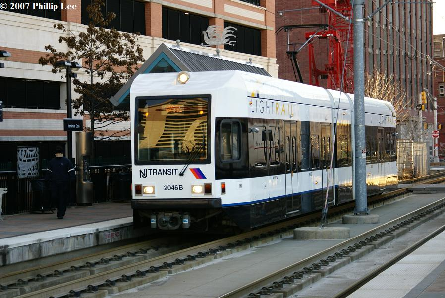 (140k, 898x601)<br><b>Country:</b> United States<br><b>City:</b> Jersey City, NJ<br><b>System:</b> Hudson Bergen Light Rail<br><b>Location:</b> Harsimus Cove <br><b>Car:</b> NJT-HBLR LRV (Kinki-Sharyo, 1998-99)  2046 <br><b>Photo by:</b> Phillip Lee<br><b>Date:</b> 2/3/2007<br><b>Viewed (this week/total):</b> 0 / 1044