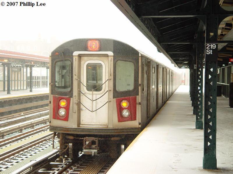 (89k, 800x600)<br><b>Country:</b> United States<br><b>City:</b> New York<br><b>System:</b> New York City Transit<br><b>Line:</b> IRT White Plains Road Line<br><b>Location:</b> 219th Street <br><b>Route:</b> 2<br><b>Car:</b> R-142 or R-142A (Number Unknown)  <br><b>Photo by:</b> Phillip Lee<br><b>Date:</b> 2/14/2007<br><b>Viewed (this week/total):</b> 1 / 2869
