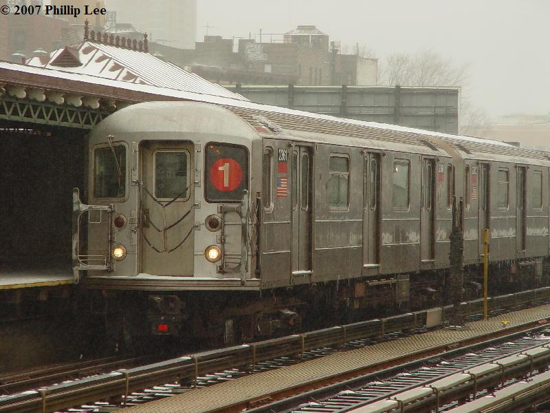 (91k, 800x600)<br><b>Country:</b> United States<br><b>City:</b> New York<br><b>System:</b> New York City Transit<br><b>Line:</b> IRT West Side Line<br><b>Location:</b> 215th Street <br><b>Route:</b> 1<br><b>Car:</b> R-62A (Bombardier, 1984-1987)  2361 <br><b>Photo by:</b> Phillip Lee<br><b>Date:</b> 2/14/2007<br><b>Viewed (this week/total):</b> 0 / 1720