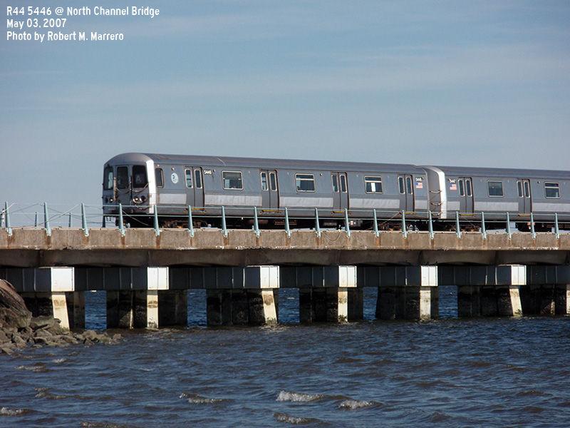 (128k, 800x600)<br><b>Country:</b> United States<br><b>City:</b> New York<br><b>System:</b> New York City Transit<br><b>Line:</b> IND Rockaway<br><b>Location:</b> North Channel Bridge <br><b>Route:</b> A<br><b>Car:</b> R-44 (St. Louis, 1971-73) 5446 <br><b>Photo by:</b> Robert Marrero<br><b>Date:</b> 5/3/2007<br><b>Viewed (this week/total):</b> 2 / 2110