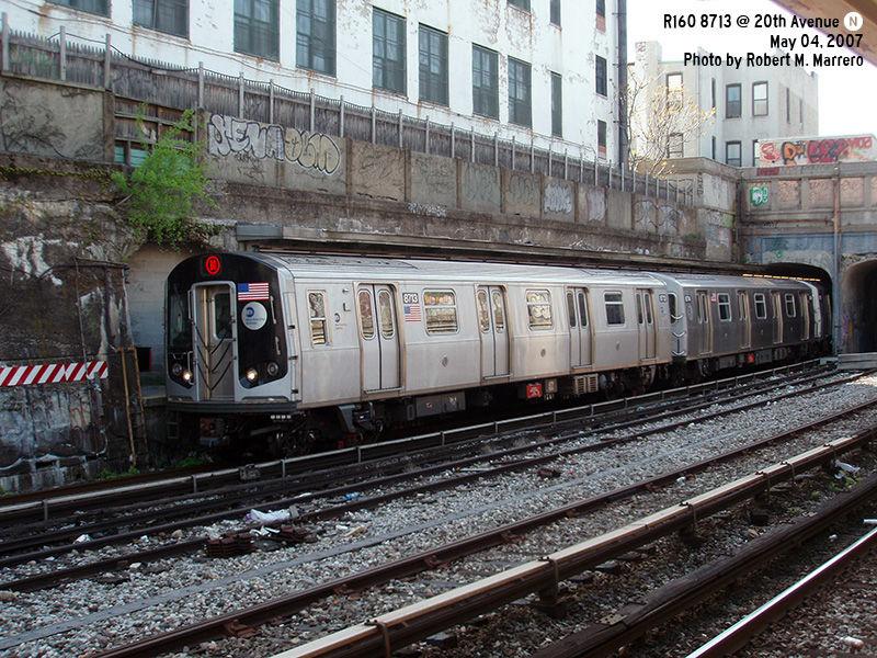 (202k, 800x600)<br><b>Country:</b> United States<br><b>City:</b> New York<br><b>System:</b> New York City Transit<br><b>Line:</b> BMT Sea Beach Line<br><b>Location:</b> 20th Avenue <br><b>Route:</b> N<br><b>Car:</b> R-160B (Kawasaki, 2005-2008)  8713 <br><b>Photo by:</b> Robert Marrero<br><b>Date:</b> 5/4/2007<br><b>Viewed (this week/total):</b> 1 / 2067