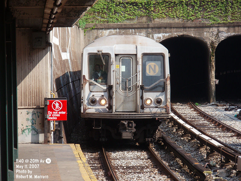 (188k, 800x600)<br><b>Country:</b> United States<br><b>City:</b> New York<br><b>System:</b> New York City Transit<br><b>Line:</b> BMT Sea Beach Line<br><b>Location:</b> 20th Avenue <br><b>Route:</b> N<br><b>Car:</b> R-40 (St. Louis, 1968)   <br><b>Photo by:</b> Robert Marrero<br><b>Date:</b> 5/11/2007<br><b>Viewed (this week/total):</b> 1 / 1842