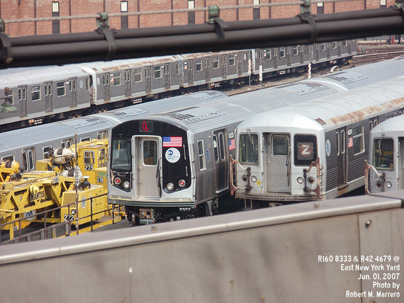 (162k, 800x600)<br><b>Country:</b> United States<br><b>City:</b> New York<br><b>System:</b> New York City Transit<br><b>Location:</b> East New York Yard/Shops<br><b>Car:</b> R-160A-1 (Alstom, 2005-2008, 4 car sets)  8333 <br><b>Photo by:</b> Robert Marrero<br><b>Date:</b> 6/1/2007<br><b>Notes:</b> With R42 4679.<br><b>Viewed (this week/total):</b> 0 / 2708