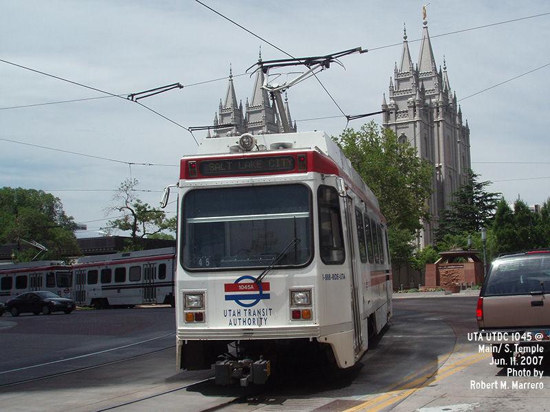 (139k, 800x600)<br><b>Country:</b> United States<br><b>City:</b> Salt Lake City, UT<br><b>System:</b> TRAX<br><b>Location:</b> South Temple & Main <br><b>Car:</b>  1045 <br><b>Photo by:</b> Robert Marrero<br><b>Date:</b> 6/11/2007<br><b>Viewed (this week/total):</b> 0 / 2725