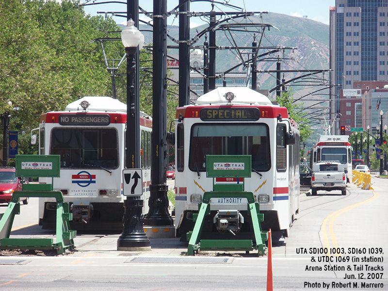 (195k, 800x600)<br><b>Country:</b> United States<br><b>City:</b> Salt Lake City, UT<br><b>System:</b> TRAX<br><b>Location:</b> Delta Center (301 W. & S. Temple) <br><b>Car:</b>  1003/1039/1069 <br><b>Photo by:</b> Robert Marrero<br><b>Date:</b> 6/12/2007<br><b>Viewed (this week/total):</b> 1 / 3522