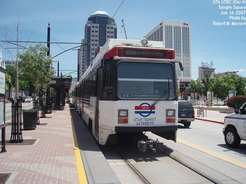 (161k, 800x600)<br><b>Country:</b> United States<br><b>City:</b> Salt Lake City, UT<br><b>System:</b> TRAX<br><b>Location:</b> Temple Square (132 W. & S. Temple) <br><b>Car:</b>  1061 <br><b>Photo by:</b> Robert Marrero<br><b>Date:</b> 6/14/2007<br><b>Viewed (this week/total):</b> 1 / 3261