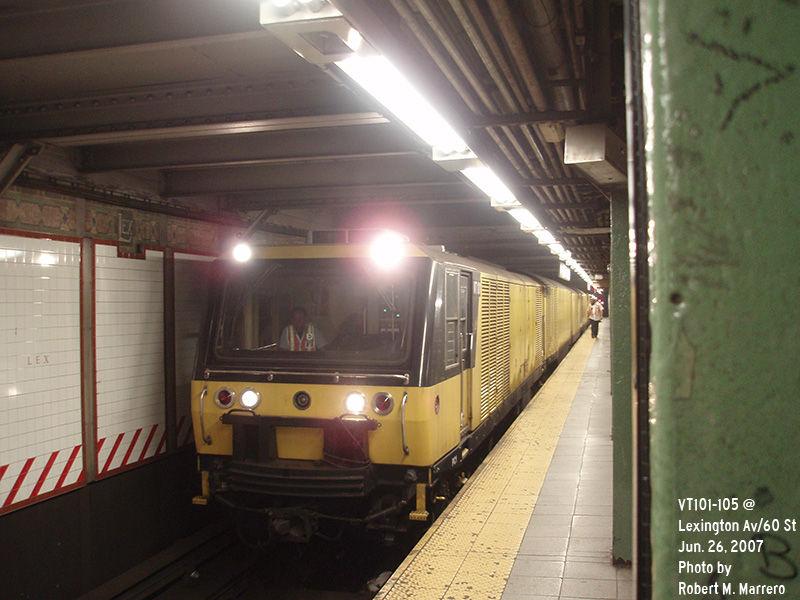 (130k, 800x600)<br><b>Country:</b> United States<br><b>City:</b> New York<br><b>System:</b> New York City Transit<br><b>Line:</b> BMT Broadway Line<br><b>Location:</b> Lexington Avenue (59th Street) <br><b>Route:</b> Work Service<br><b>Car:</b> R-137 Vacuum Cleaning Train  VT101-105 <br><b>Photo by:</b> Robert Marrero<br><b>Date:</b> 6/26/2007<br><b>Viewed (this week/total):</b> 2 / 3919