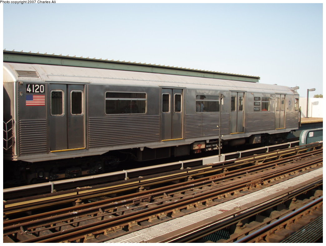 (188k, 1044x788)<br><b>Country:</b> United States<br><b>City:</b> New York<br><b>System:</b> New York City Transit<br><b>Line:</b> IND Fulton Street Line<br><b>Location:</b> Rockaway Boulevard <br><b>Route:</b> A<br><b>Car:</b> R-38 (St. Louis, 1966-1967)  4120 <br><b>Photo by:</b> Charles Ali<br><b>Date:</b> 9/17/2006<br><b>Viewed (this week/total):</b> 0 / 2223