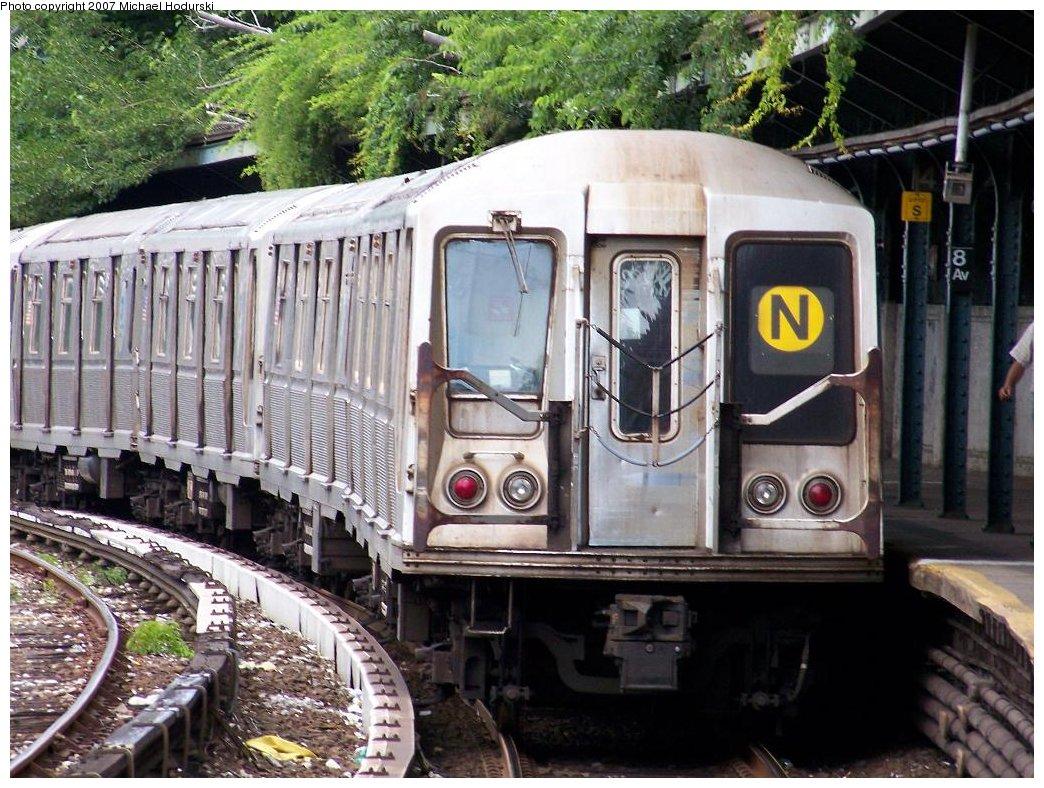 (228k, 1044x788)<br><b>Country:</b> United States<br><b>City:</b> New York<br><b>System:</b> New York City Transit<br><b>Line:</b> BMT Sea Beach Line<br><b>Location:</b> 8th Avenue <br><b>Route:</b> N<br><b>Car:</b> R-40 (St. Louis, 1968)  4225 <br><b>Photo by:</b> Michael Hodurski<br><b>Date:</b> 6/22/2007<br><b>Viewed (this week/total):</b> 0 / 1899