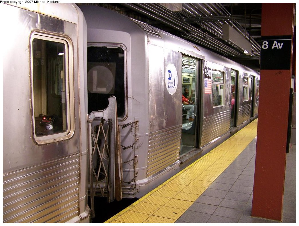 (198k, 1044x788)<br><b>Country:</b> United States<br><b>City:</b> New York<br><b>System:</b> New York City Transit<br><b>Line:</b> BMT Canarsie Line<br><b>Location:</b> 8th Avenue <br><b>Route:</b> L<br><b>Car:</b> R-42 (St. Louis, 1969-1970)  4901 <br><b>Photo by:</b> Michael Hodurski<br><b>Date:</b> 6/22/2007<br><b>Viewed (this week/total):</b> 1 / 2711