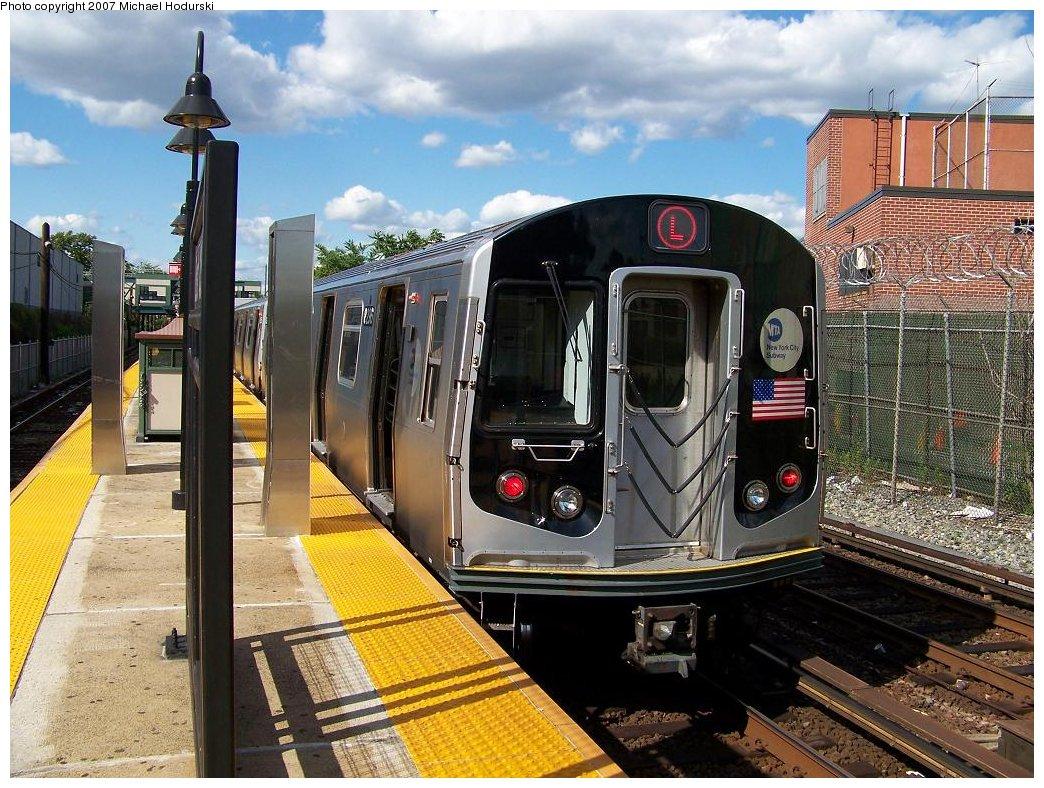(237k, 1044x788)<br><b>Country:</b> United States<br><b>City:</b> New York<br><b>System:</b> New York City Transit<br><b>Line:</b> BMT Canarsie Line<br><b>Location:</b> East 105th Street <br><b>Route:</b> L<br><b>Car:</b> R-143 (Kawasaki, 2001-2002) 8296 <br><b>Photo by:</b> Michael Hodurski<br><b>Date:</b> 6/22/2007<br><b>Viewed (this week/total):</b> 3 / 2910