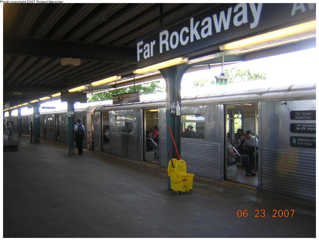 (167k, 1044x788)<br><b>Country:</b> United States<br><b>City:</b> New York<br><b>System:</b> New York City Transit<br><b>Line:</b> IND Rockaway<br><b>Location:</b> Mott Avenue/Far Rockaway <br><b>Route:</b> A<br><b>Car:</b> R-38 (St. Louis, 1966-1967)  4127 <br><b>Photo by:</b> Robert Mencher<br><b>Date:</b> 6/23/2007<br><b>Viewed (this week/total):</b> 1 / 2629