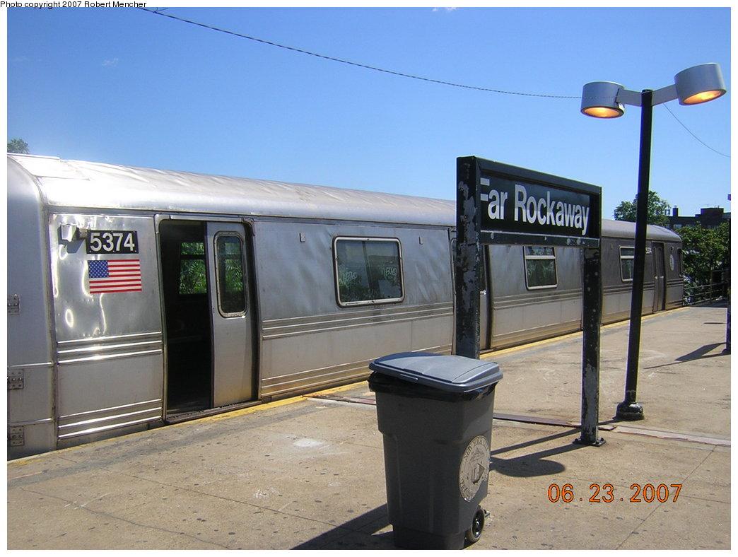 (185k, 1044x788)<br><b>Country:</b> United States<br><b>City:</b> New York<br><b>System:</b> New York City Transit<br><b>Line:</b> IND Rockaway<br><b>Location:</b> Mott Avenue/Far Rockaway <br><b>Route:</b> A<br><b>Car:</b> R-44 (St. Louis, 1971-73) 5374 <br><b>Photo by:</b> Robert Mencher<br><b>Date:</b> 6/23/2007<br><b>Viewed (this week/total):</b> 0 / 1453