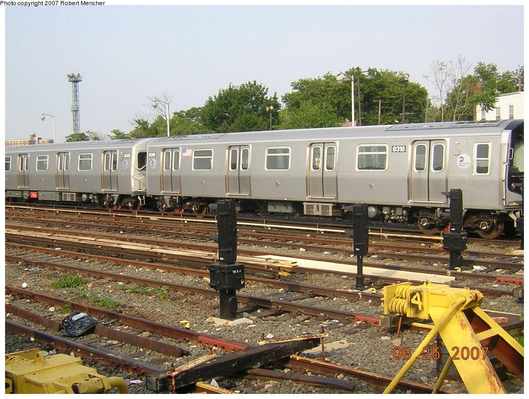 (255k, 1044x788)<br><b>Country:</b> United States<br><b>City:</b> New York<br><b>System:</b> New York City Transit<br><b>Location:</b> Rockaway Parkway (Canarsie) Yard<br><b>Car:</b> R-160A-1 (Alstom, 2005-2008, 4 car sets)  8316 <br><b>Photo by:</b> Robert Mencher<br><b>Date:</b> 6/25/2007<br><b>Viewed (this week/total):</b> 0 / 1690