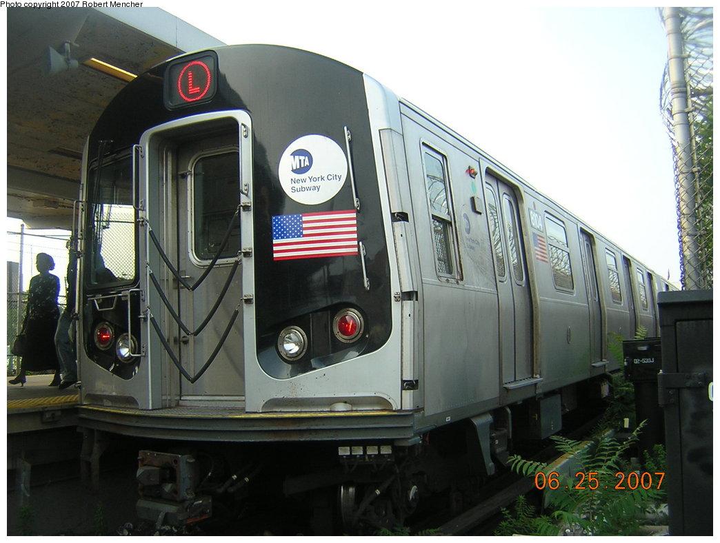 (189k, 1044x788)<br><b>Country:</b> United States<br><b>City:</b> New York<br><b>System:</b> New York City Transit<br><b>Line:</b> BMT Canarsie Line<br><b>Location:</b> Rockaway Parkway <br><b>Route:</b> L<br><b>Car:</b> R-143 (Kawasaki, 2001-2002) 8104 <br><b>Photo by:</b> Robert Mencher<br><b>Date:</b> 6/25/2007<br><b>Viewed (this week/total):</b> 1 / 3897